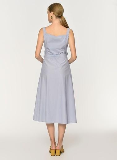 Loves You Düğmeli Kemerli Elbise Mavi